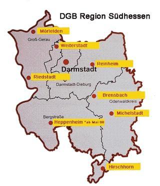Karte der Region Südhessen
