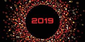 Jahreszahl 2019 in den Farben rot auf schwarzem Grund